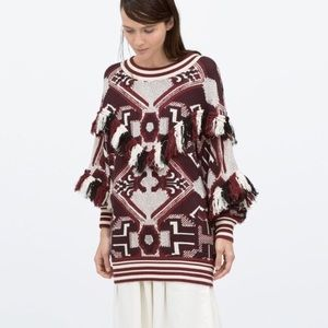 Zara Aztec sweater with fringe